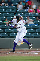 Eloy Jimenez (27) of the Winston-Salem Dash at bat against the Potomac Nationals at BB&T Ballpark on August 5, 2017 in Winston-Salem, North Carolina.  The Dash defeated the Nationals 6-0.  (Brian Westerholt/Four Seam Images)
