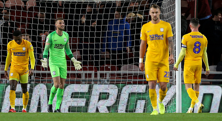 Preston North End players react to conceding an equaliser<br /> <br /> Photographer Alex Dodd/CameraSport<br /> <br /> The EFL Sky Bet Championship - Middlesbrough v Preston North End - Tuesday 1st October 2019  - Riverside Stadium - Middlesbrough<br /> <br /> World Copyright © 2019 CameraSport. All rights reserved. 43 Linden Ave. Countesthorpe. Leicester. England. LE8 5PG - Tel: +44 (0) 116 277 4147 - admin@camerasport.com - www.camerasport.com