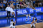 LOS ANGELES - MAY 5:  TJ DeFalco #11 of the Long Beach State 49ers spikes the ball against the UCLA Bruins during the Division 1 Men's Volleyball Championship on May 5, 2018 at Pauley Pavilion in Los Angeles, California. The Long Beach State 49ers defeated the UCLA Bruins 3-2. (Photo by John W. McDonough/NCAA Photos via Getty Images)