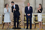 (L-R) Queen Sofia of Spain, Prince Felipe of Spain, King Juan Carlos of Spain and Princess Letizia of Spain attend the official abdication ceremony at the Royal Palace. June 18 ,2014. (ALTERPHOTOS/Pool)