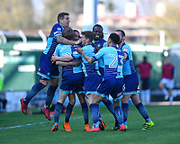 Goalscorer Randell Williams of Wycombe Wanderers is mobbed by team mates during Yeovil Town vs Wycombe Wanderers, Sky Bet EFL League 2 Football at Huish Park on 14th April 2018