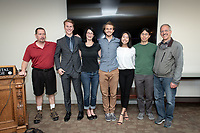 From left, Jeffrey Miller, Non-Tenure Track Assistant Professor, Computer Science, Shasta Clokey '18, Kathryn Leonard, Professor, Computer Science, Max Marion '18, Ellen Shin '18, Justin Li, Assistant Professor, Cognitive Science and Alan Knoerr, Associate Professor, Mathematics, Cognitive Science.<br />