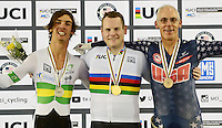 Picture by Simon Wilkinson/SWpix.com - 02/03/2017 - Cycling 2017 UCI Para-Cycling Track World Championships, Los Angeles USA - Podium, WILSON Ross Canada, THOMPSON Darcy, Australia and KEY Todd, USA