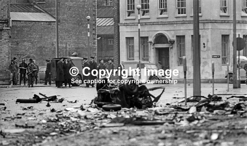 Scene of Provisional IRA car bomb explosion at rear of the BBC building in Ormeau Avenue, Belfast, N ireland, 12th May 1972. Whilst damage was widespread there were no serious injuries. 197205120231a<br />