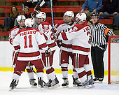 Luke Greiner (Harvard - 24), Daniel Moriarty (Harvard - 11), Michael Biega (Harvard - 27), Eric Kroshus (Harvard - 10), Alex Biega (Harvard - 3) - The Boston College Eagles defeated the Harvard University Crimson 3-2 on Wednesday, December 9, 2009, at Bright Hockey Center in Cambridge, Massachusetts.