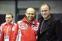 SCHAATSEN: HEERENVEEN: Thialf, Essent ISU World Cup, 03-03-2012, coach Kosta Poltavets (RUS), Aleksei Kravtsov (head of the Russian Skating Union), ©foto: Martin de Jong