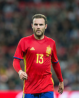 Juan Mata of Spain during the International Friendly match between England and Spain at Wembley Stadium, London, England on 15 November 2016. Photo by Andy Rowland.