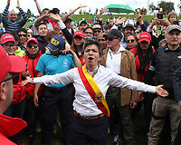 during a Copa Libertadores soccer match in Bogota, Colombia, Thursday, March 1, 2018. (AP Photo/Felipe Caicedo)