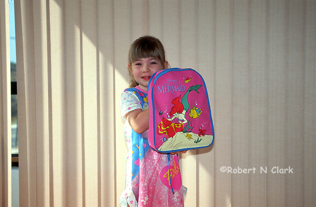 Girl with her new Barbi backpack