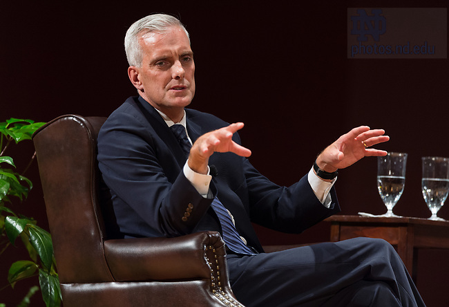 "October 4, 2017; Denis McDonough chief of staff to Presidents Barack Obama, discusses U.S. foreign policy during the Notre Dame Forum: ""Views from the West Wing: How Global Trends Shape U.S. Foreign Policy,"" held in the Leighton Concert Hall of the DeBartolo Performing Arts Center. (Photo by Barbara Johnston/University of Notre Dame)"