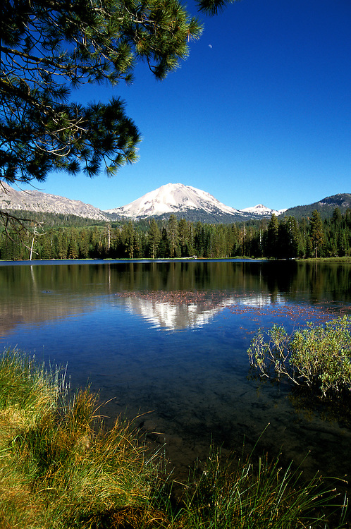 California: Lassen National Park.  Manzanita Lake and Lassen Peak..Photo copyright Lee Foster, 510/549-2202, lee@fostertravel.com, www.fostertravel.com..Photo #: calass102