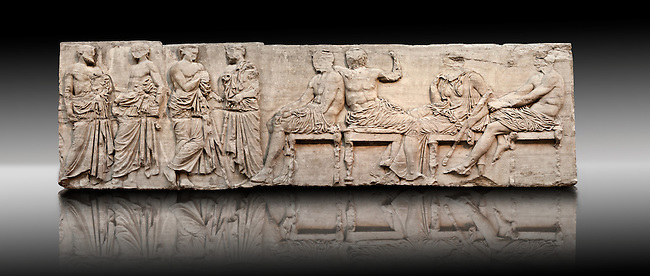 Marble Releif Sculptures from the east frieze around the Parthenon Block IV 20-27. From the Parthenon of the Acropolis Athens. A British Museum Exhibit known as The Elgin Marbles. Far Richt Ares sits holding his knee  to his left Demeter is leaning on one wrist, a sign of mouring, grieving for her daughter Persaphone who had been abducted by the gods of the underworld.