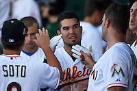 Mesa Solar Sox third baseman Renato Nunez (25) congratulated by teammates after hitting his third home run during an Arizona Fall League game against the Scottsdale Scorpions on October 19, 2015 at Sloan Park in Mesa, Arizona.  Scottsdale defeated Mesa 10-6.  (Mike Janes/Four Seam Images)