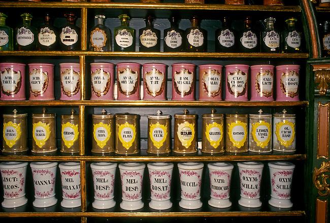 Apothecary jars at Hofapotheke in Old Market Square (Alter Markt), Salzburg, Salzburg State, Austria, Europe