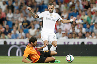 Real Madrid's Jese Rodriguez (r) and Galatasaray's Hakan Balta during XXXVI Santiago Bernabeu Trophy. August 18,2015. (ALTERPHOTOS/Acero)