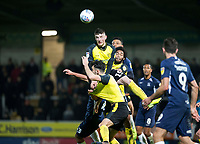 3rd December 2019; Pirelli Stadium, Burton Upon Trent, Staffordshire, England; English League One Football, Burton Albion versus Southend United; Reece Hutchinson of Burton Albion gets above players to head the ball - Strictly Editorial Use Only. No use with unauthorized audio, video, data, fixture lists, club/league logos or 'live' services. Online in-match use limited to 120 images, no video emulation. No use in betting, games or single club/league/player publications