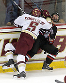 Philip Samuelsson (BC - 5), Mike McLaughlin (NU - 18) - The Boston College Eagles defeated the Northeastern University Huskies 5-1 on Saturday, November 7, 2009, at Conte Forum in Chestnut Hill, Massachusetts.
