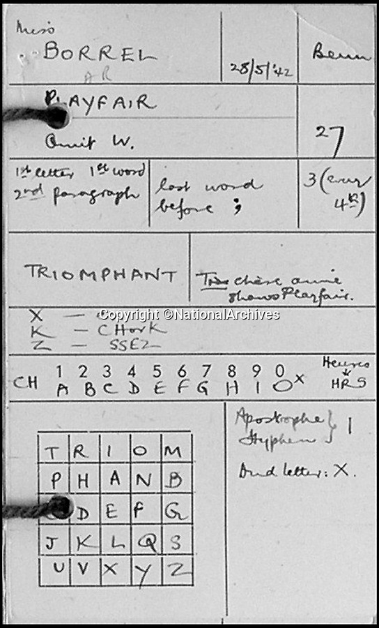 BNPS.co.uk (01202 558833)Pic: NationalArchives/BNPS<br /> <br /> One of agent Andrée Borrel's code sheet's. <br /> <br /> A new book reveals the heroic and often tragic stories of the brave female SOE operatives who were dropped into occupied France during WW2.<br /> <br /> The courageous women, who new capture was almost certain death, acted as couriers, carried weapons, helped identify bombing targets, found places for planes to land and established safe houses.<br /> <br /> But of the 36 French women who returned to their homeland to work with the Resistance, a third were captured and 10 of them were executed. <br /> <br /> The immense bravery and sacrifice of these women is highlighted by historian Bernard O'Connor in his new book, SOE Heroines.