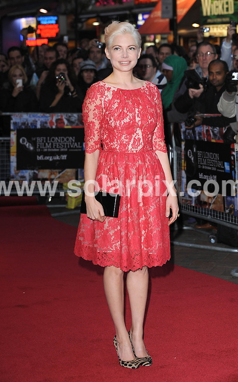 **ALL ROUND PICTURES FROM SOLARPIX.COM**                                             **WORLDWIDE SYNDICATION RIGHTS**                                                                                  Caption: the 54th BFI London Film Festival Premiere of Blue Valentine, London, UK. 15 October 2010                                                                              This pic: Michelle Williams                                                                             JOB REF: 12329 TLP       DATE: 15_10_2010                                                           **MUST CREDIT SOLARPIX.COM OR DOUBLE FEE WILL BE CHARGED**                                                                      **MUST AGREE FEE BEFORE ONLINE USAGE**                               **CALL US ON: +34 952 811 768 or LOW RATE FROM UK 0844 617 7637**