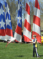 Brenten Caprio, 10 of Perkiomenville, Pa. puts his kite in the air during Kite Day Sunday April 24, 2016 at the Fonthill Museum in Doylestown, Pennsylvania. (Photo by William Thomas Cain/Cain Images)