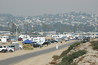 Hundreds of people were camped out on Fiesta Island in Mission Bay San Diego with their horses after being evacuated from areas threatened by the wildfires burning in the county, Tuesday, October 23rd, 2007.