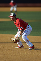Liberty Flames first baseman Dylan Allen (33) on defense against the Wake Forest Demon Deacons at David F. Couch Ballpark on April 25, 2018 in  Winston-Salem, North Carolina.  The Demon Deacons defeated the Flames 8-7.  (Brian Westerholt/Four Seam Images)