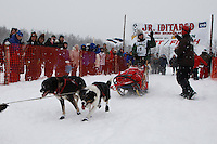 Anitra Winkler of Cantwell leaves the start line of the 2009 Junior Iditarod on Knik Lake on Saturday Februrary 28, 2009.