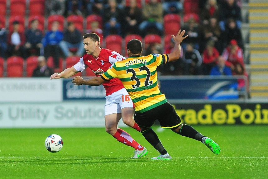 Rotherham United's Frazer Richardson vies for possession with Norwich City's Vadis Odjidja-Ofoe<br /> <br /> Photographer Andrew Vaughan/CameraSport<br /> <br /> Football - Capital One Cup Second Round - Rotherham United v Norwich - Tuesday 25th August 2015 - New York Stadium - Rotherham<br />  <br /> &copy; CameraSport - 43 Linden Ave. Countesthorpe. Leicester. England. LE8 5PG - Tel: +44 (0) 116 277 4147 - admin@camerasport.com - www.camerasport.com