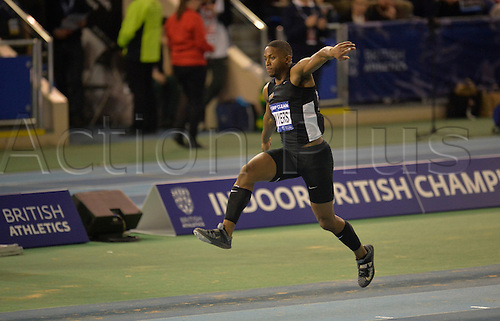27.02.2016. EIS Sheffield, Sheffield, England. British Indoor Athletics Championships Day One. Johnny Sawyers competes in the Triple Jump.