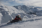 Snow grooming at Lech Ski Area, St Anton, Austria