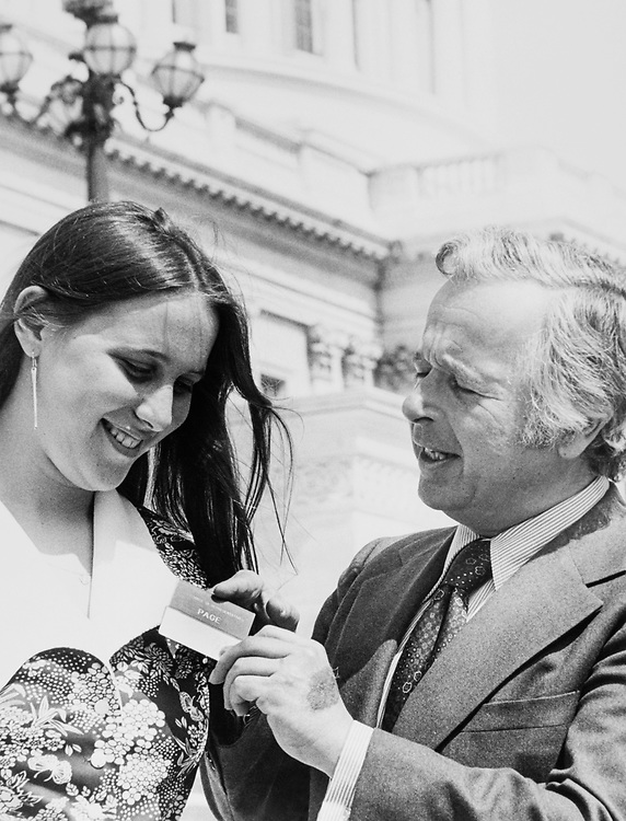 Heidi Stamp and Rep. Bertram L. Podell, D-N.Y., on Capitol Hill in 1985. (Photo by Dev O'Neill/ CQ Roll Call)