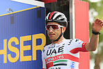Sergio Luis Henao Montoya (COL) UAE Team Emirates at sign on before the start of Stage 4 of La Vuelta 2019 running 175.5km from Cullera to El Puig, Spain. 27th August 2019.<br /> Picture: Eoin Clarke | Cyclefile<br /> <br /> All photos usage must carry mandatory copyright credit (© Cyclefile | Eoin Clarke)