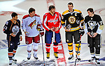 24 January 2009: Winners of the NHL SuperSkills Competition, pictured left to right: Edmonton Oilers center Andrew Cogliano, Phoenix Coyotes right wing forward Shane Doan, Washington Capitals left wing forward Alex Ovechkin, Boston Bruins defenseman and Team Captain Zdeno Chara, and Pittsburgh Penguins center Evgeni Malkin, during the All-Star Weekend at the Bell Centre in Montreal, Quebec, Canada. ***** Editorial Sales Only ***** Mandatory Photo Credit: Ed Wolfstein Photo