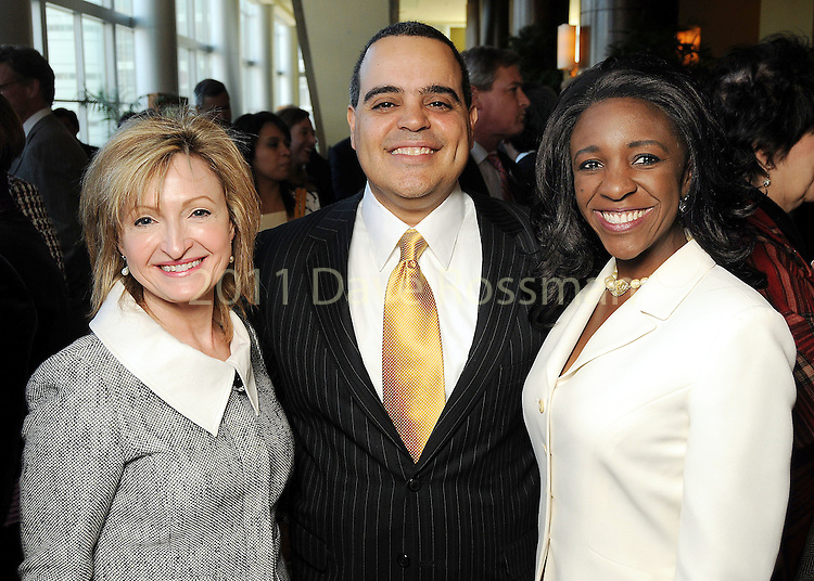 From left: Nancy Mitchell with David and Jacquie Chaumette at the Heart of Gold Celebration benefitting Neighborhood Centers Inc at the Hilton Americas Hotel Thursday Feb. 25,2010. (Dave Rossman Photo)