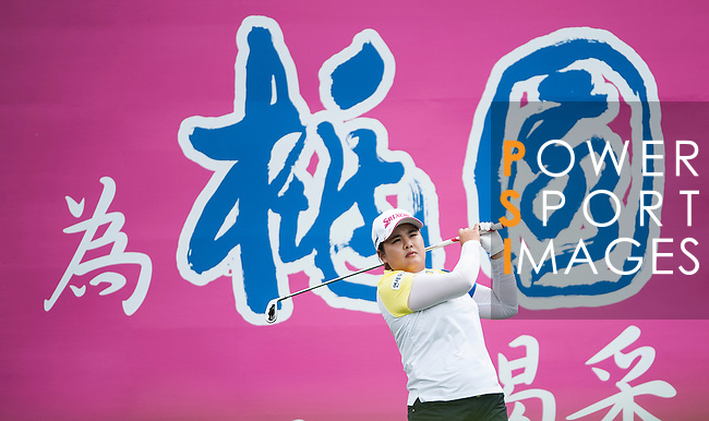 TAOYUAN, TAIWAN - OCTOBER 28:  Inbee Park tees off on the 4th hole during the day four of the Sunrise LPGA Taiwan Championship at the Sunrise Golf Course on October 28, 2012 in Taoyuan, Taiwan.  Photo by Victor Fraile / The Power of Sport Images