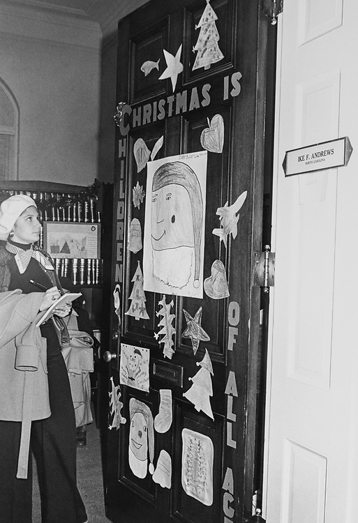 Rep. Ike Franklin Andrews, D-N.C., decorated office door around Christmas. (Photo by CQ Roll Call via Getty Images)