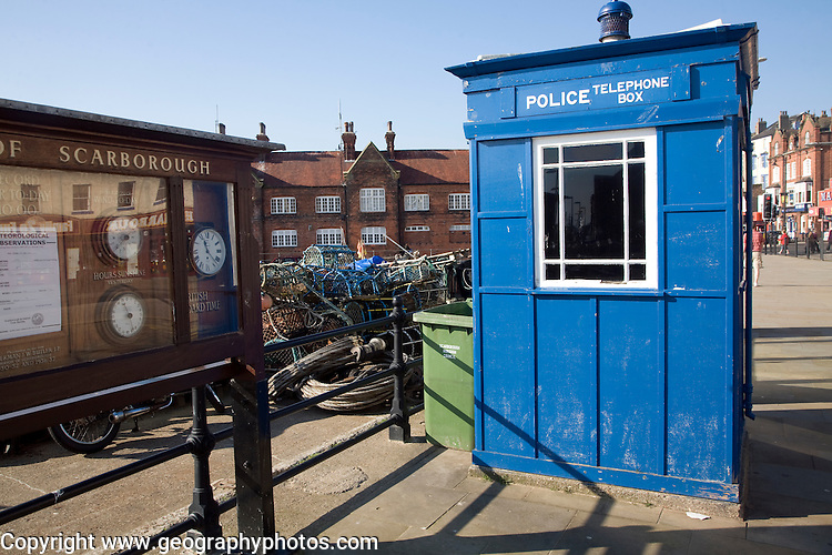Old blue police telephone box on the seafront, Scarborough, Yorkshire, England
