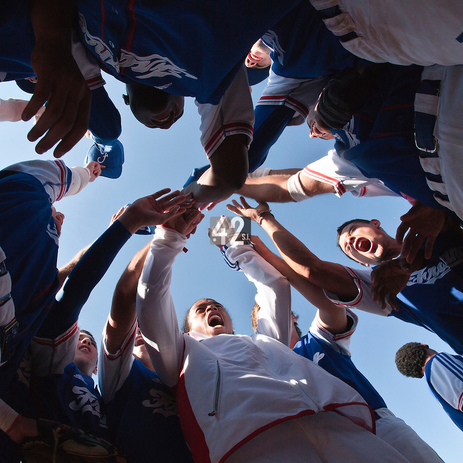 20 August 2010: Team France gathers after France 6-5 win over Italy, at the 2010 European Championship, under 21, in Brno, Czech Republic.