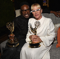 Billy Porter and Patricia Arquette attend the ABC, Disney Television Studios, FX Networks, Hulu and National Geographic 2019 Emmy Awards Post Party at Otium on September 22, 2019. For the first time ever, Disney hosted an Emmy Award post party honoring ABC, Disney Television Studios, FX Networks, Hulu and National Geographic tonight. Executives, producers and actors came together to applaud the company's collective nominations and celebrate industry wins. (Photo by PictureGroup/Walt Disney Television)