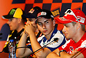 July 1, 2010 - Catalunya, Spain - Jorge Lorenzo (L)  and Casey Stoner are interviewed during the Catalunya Grand Prix on July 1, 2010. (Photo Andrew Northcott/Nippon News).