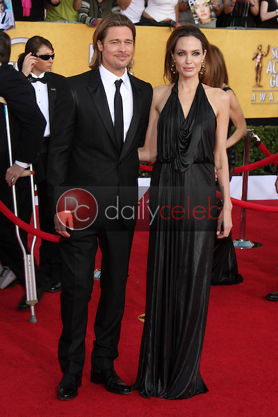 Brad Pitt, Angelina Jolie<br /> at the 18th Annual Screen Actors Guild Awards Arrivals, Shrine Auditorium, Los Angeles, CA 01-29-12<br /> David Edwards/DailyCeleb.com 818-249-4998