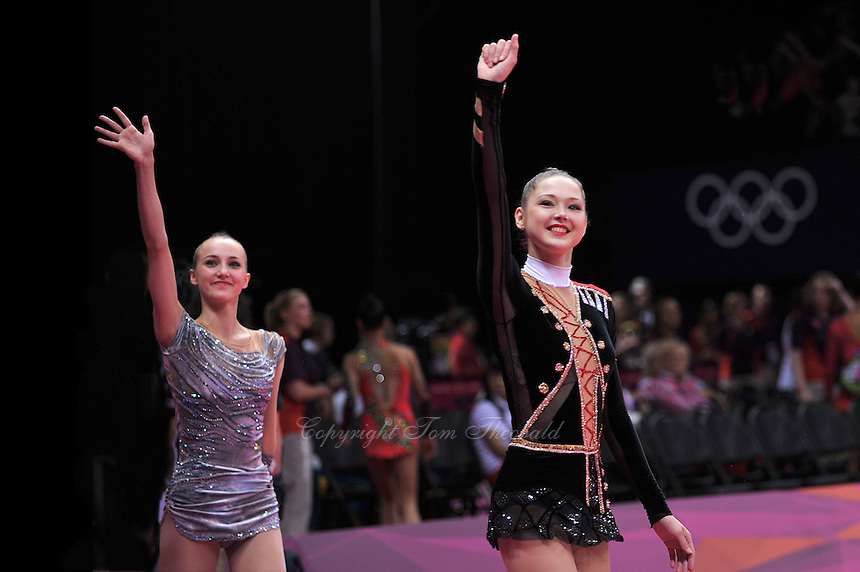 August 10, 2012; London, Great Britain;  (L-R) ANNA RIZATDINOVA and ALINA MAKSYMENKO of Ukraine march-out after day 2 of qualifying finishes in rhythmic gymnastics at London 2012 Olympics.