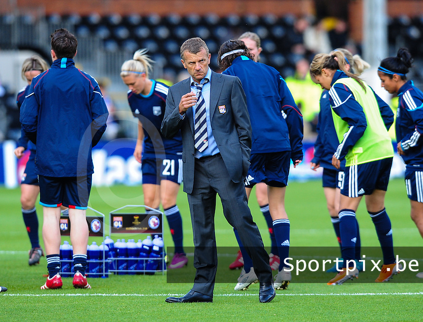 Uefa Women 's Champions League Final 2011 at Craven Cottage Fulham - London : Olympique Lyon - Turbine Potsdam : trainer coach Patrice Lair .foto DAVID CATRY / JOKE VUYLSTEKE / Vrouwenteam.be.