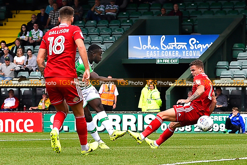 Olufela Olomola of Yeovil Town scores his first goal to make the score 1-1- during Yeovil Town vs Accrington Stanley, Sky Bet EFL League 2 Football at Huish Park on 12th August 2017