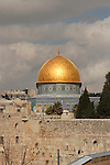 Israel, Jerusalem Old City. The Dome of the Rock and the Western Wall as seen from the Jewish Quarter
