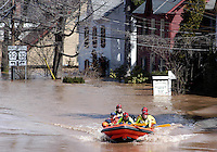 YARDLEY, PA - APRIL 4:  Water rescue personnel search to make sure all residents are evacuated safely during major flooding April 4, 2005 in Yardley, Pennsylvania. Heavy rains over the weekend and snow melting in New York state caused Pennsylvania Gov. Ed Rendell to call states of emergency in numerous towns along the Delaware River due to the worst flooding in 50 years. Acting New Jersey Gov. Richard J. Codey also called states of emergency in the Trenton, New Jersey area. (Photo by William Thomas Cain/Getty Images)