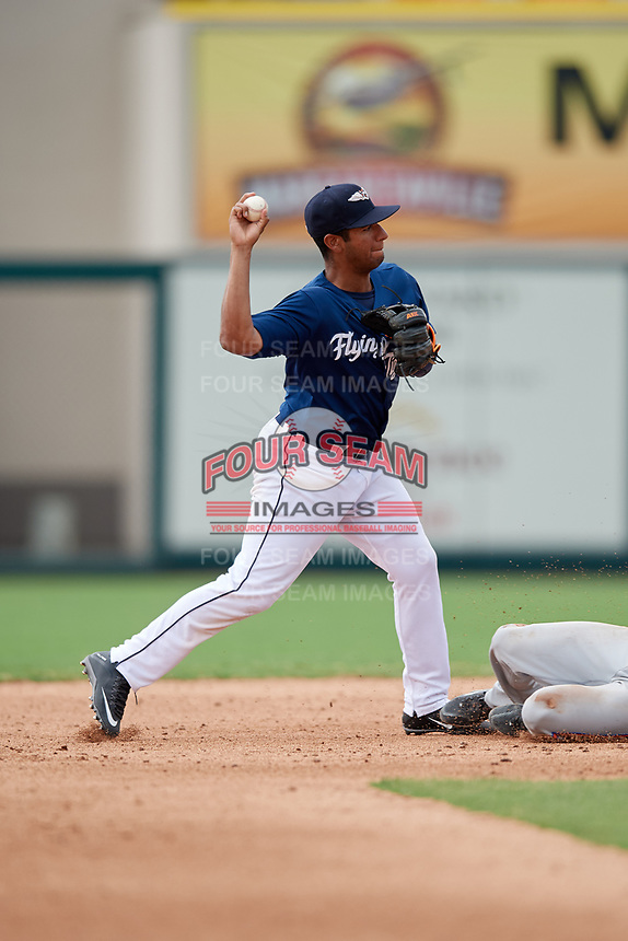 Lakeland Flying Tigers shortstop Junnell Ledezma (12) turns a double play during a game against the St. Lucie Mets on June 11, 2017 at Joker Marchant Stadium in Lakeland, Florida.  Lakeland defeated St. Lucie 1-0.  (Mike Janes/Four Seam Images)