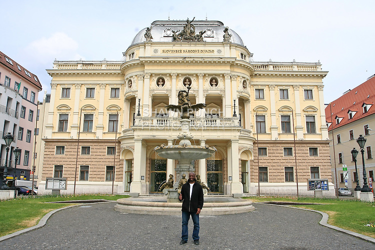 Me in front the Slovak National Theatre, in Hviezdoslav Square. It is the second oldest Slovak professional theatre.
