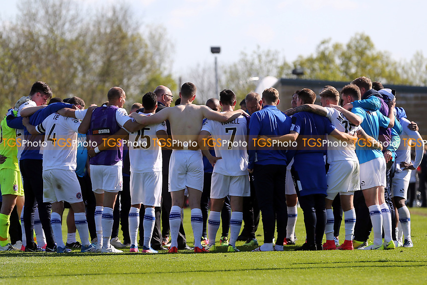 Daggers players huddle  after Forest Green Rovers vs Dagenham & Redbridge, Vanarama National League Play-Off Football at The New Lawn on 7th May 2017