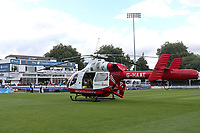 The Essex & Herts Air Ambulance on the outfield as the start of the match is delayed ahead of Essex Eagles vs Kent Spitfires, NatWest T20 Blast Cricket at The Cloudfm County Ground on 17th August 2017